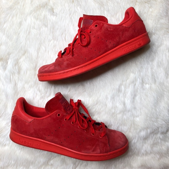 Zapatillas adidas Stan Smith ROJO suede poshmark